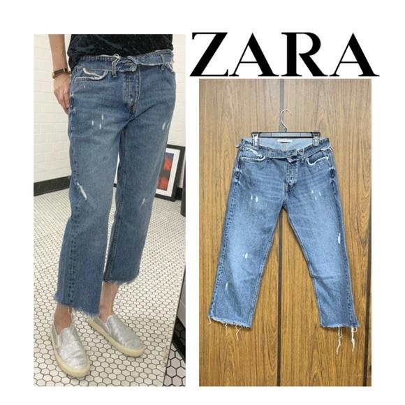 Zara Denim - NEW Zara Fold Over Waist Straight Jeans Folded